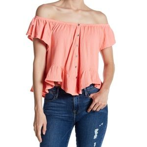 🌈Free People•coral mint julep tee slouch ruffle